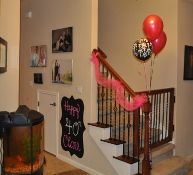 Chalkboard and Tulle on Staircase