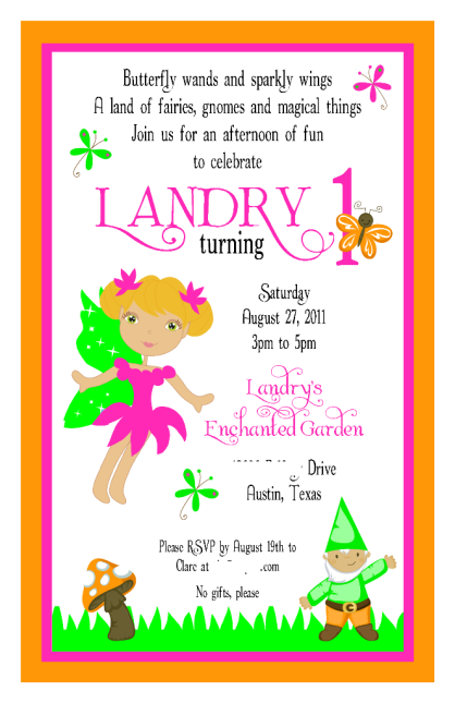Landry's Enchanted Garden 1st Birthday Invite