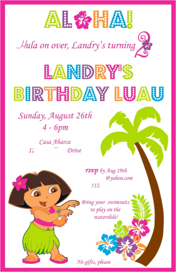 Dora Luau Invitation