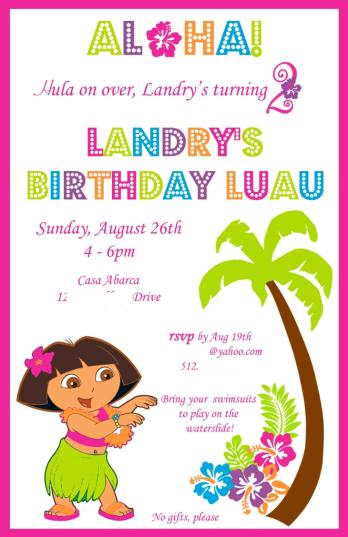 Dora Luau Invitation