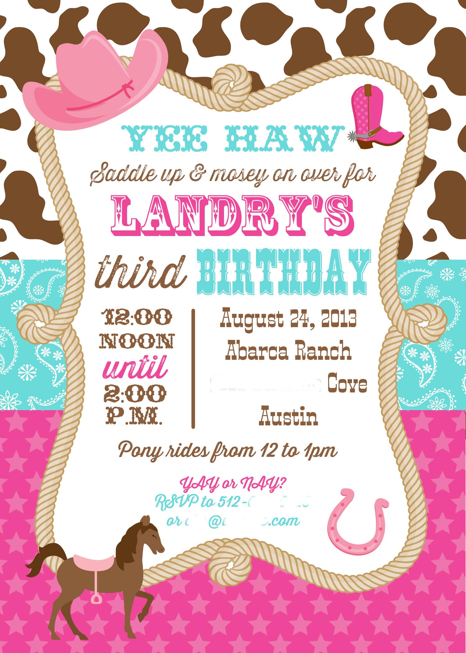 Cowgirl Invitation Wording as adorable invitations design