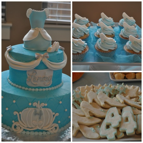 Beautiful Cinderella-inspired cake and cupcakes by Classy Cakes by Lori along with yummy cookies compliments of MeMaw