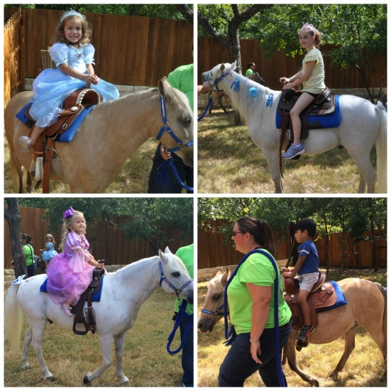 Landry on her favorite horse, Shimmer, along with Amber, Scarlett, and Abraham